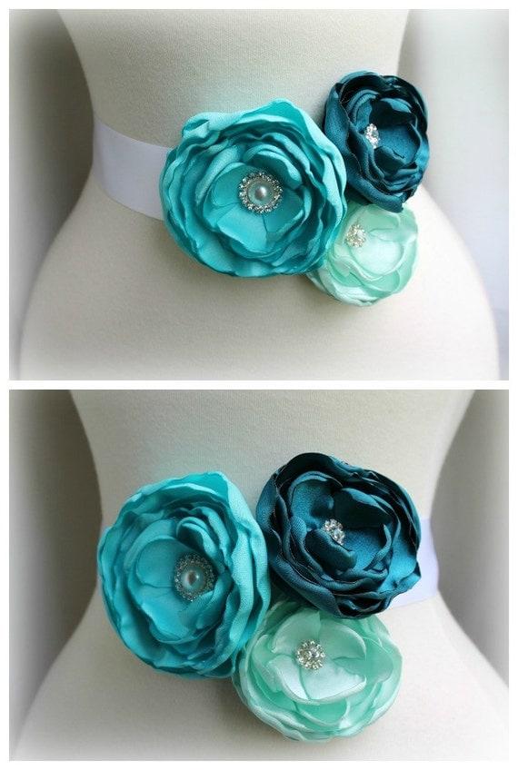Items Similar To Bridal Floral Sash Belt Teal Turquoise
