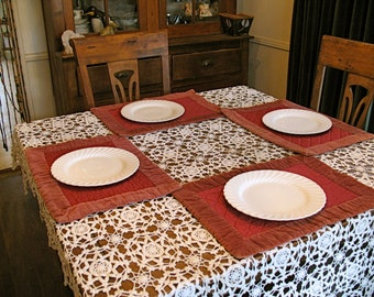 Vintage Wine RED VELVET PLACEMATS 6 Piece Set - Sophisticated Holiday Look