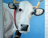 SALE 30x40 Cow Painting, Original Acrylic on Canvas, 30x40