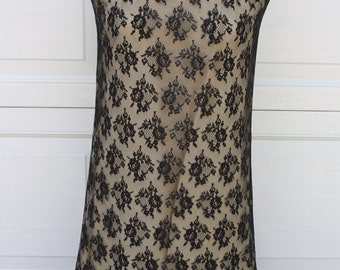 Vintage 60s Black Lace Cocktail Shift Dress With Ruffle