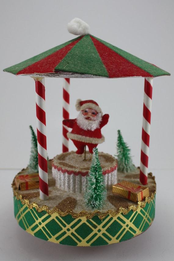 Vintage Christmas Musical Dancing Santa In Carousel Brite Star