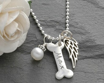 Pet memorial Jewelry, Dog Bone and Wing Necklace - pet remembrance - sterling silver