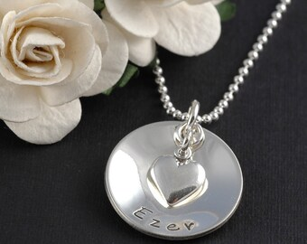 Hand Stamped - Personalized Necklace - Single Disc with heart charm - domed charm necklace