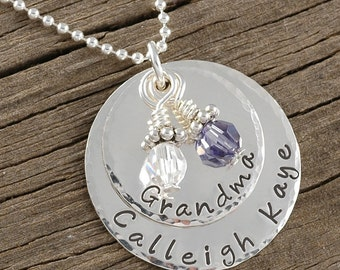 Personalized Mothers Necklace Sterling Silver Double Stacked with birthstones - Hammered Edges