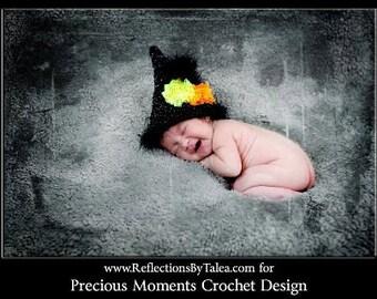 Baby Halloween Hat, Newborn Sparkle  Witch Hat, Newborn Halloween hat,  Newborn Baby Crochet 0-3 months PHOTO PROP