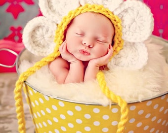 Newborn Baby Girl Photo Prop Daisy Hat