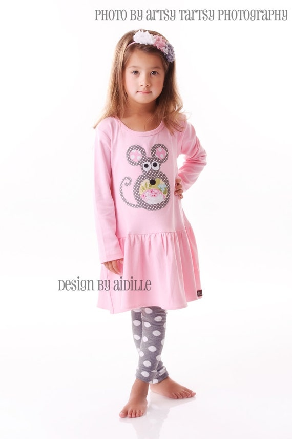 Girls Mouse Dress Applique Tunic in Pink 2T 4T 6 8 Gray and Pink Made to Order Mice
