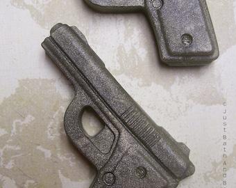Set 2 Pistol Gun Handmade Small Novelty Glycerin Soap Scented Favors Kids Adults Fun Cool