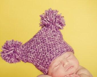 Ready to Ship * Double Pom Pom Hat * Newborn Hat * Purple Infant Double Pom Hat * Baby Girl Pom Pom Hat * Customize + Personalize