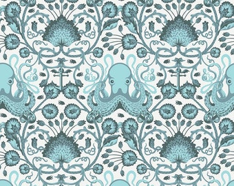 Tula Pink  SALT WATER  Octo Garden in Aqua (PWTP-029) - Free Spirit Fabric - By the Yard