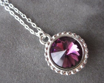 February Birthstone Necklace, Silver Purple, Crystal Amethyst Necklace, Amethyst Jewelry