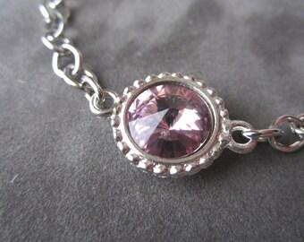 June Birthstone Bracelet, Swarovski Crystal Birthstone Jewelry, Silver, Light Purple, Amethyst, Alexandrite Bracelet