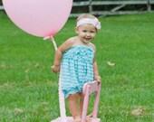 Baby Girl Romper, aqua Romper, birthday outfit, Cake Smash, Infant rompers, Newborn Romper, Toddler Romper,Infant romper
