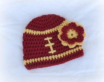 Crochet Baby Girl Football Flower Beanie - Newborn to Adult - Autumn Red and Sunshine - MADE TO ORDER