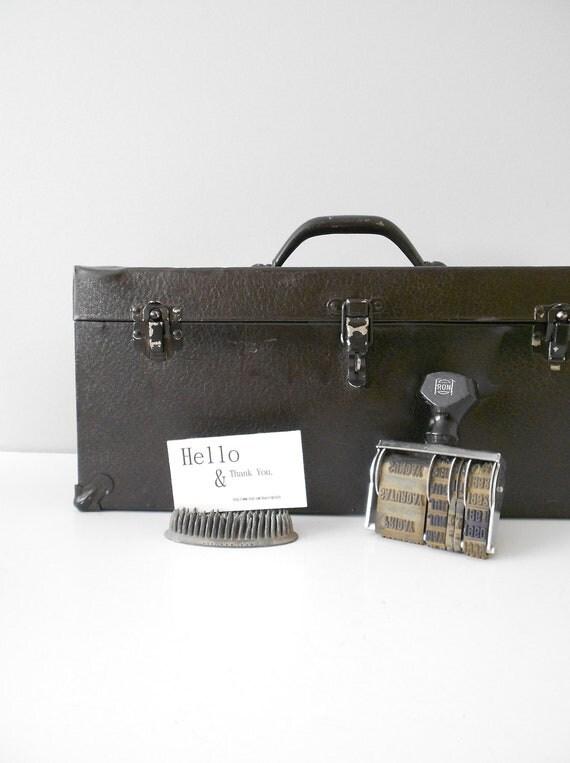 sale // Large Rustic Black Industrial Metal Tool Box