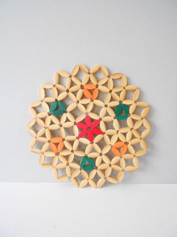 set of 6 large wood serving plate coasters // hot pads // geometric wall art