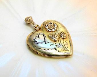 Vintage 12K Gold Filled Heart Locket Pendant