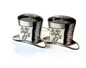 Mad Hatter Cufflinks Cuff Links Alice In Wonderland Silver Plated