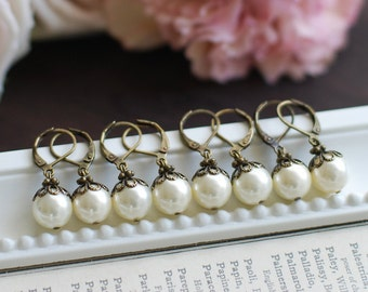 Set of 6 Bridesmaid Earrings, Bridal Earrings, Bridesmaids Gift, Six pairs Swarovski Cream White Round Pearls Earrings, Vintage Wedding