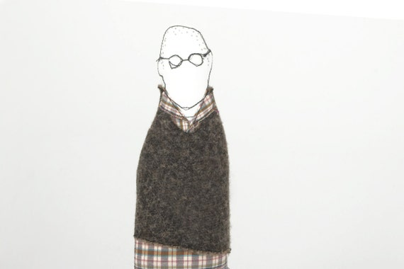 Father, son, brother or uncle handmad cloth doll - Wearing Eyeglasses Gray pullover plaid shirt and jeans