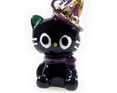 3-D Hand Painted Resin Black Kitty Cat with Pointed Hat Charm, Qty 1