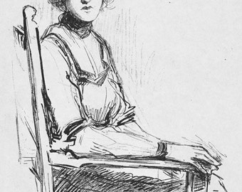 A Study of a Young Woman in a Chair Vintage American Print by Albert E Sterner