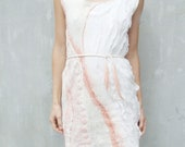 Textured nuno felted dress, cream ivory white and pink peach coral wool dress summer fashion