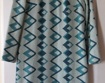 Vintage Mod Turquoise Wool Size 8 Elvi Couture Dress
