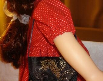 Asian black Satin purse for 18 inch Dolls - agp3