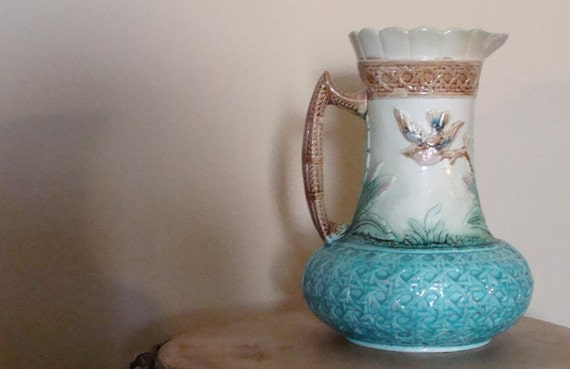 Antique English Majolica Ceramic Pottery Pitcher Bird and Basket Weave