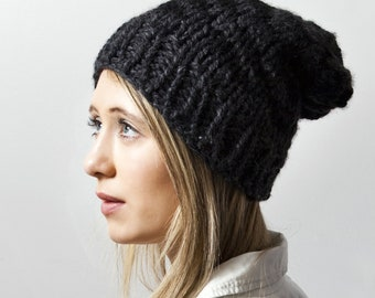 The Houndstooth Knit Hat in Black and Grey