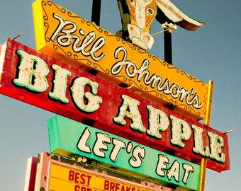 Bill Johnson's Big Apple Neon Diner Sign - Vintage Kitchen Decor - Retro Wall Art - Mesa Arizona - Neon Bull - Fine Art Photography