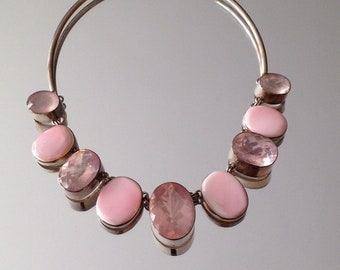 Vintage Statement Necklace Pink Sterling Silver Necklace