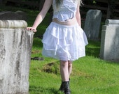 White fairy dress, post apocalyptic rag doll outfit, Tattered zombie ballerina top and tutu skirt, women's halloween mummy costume