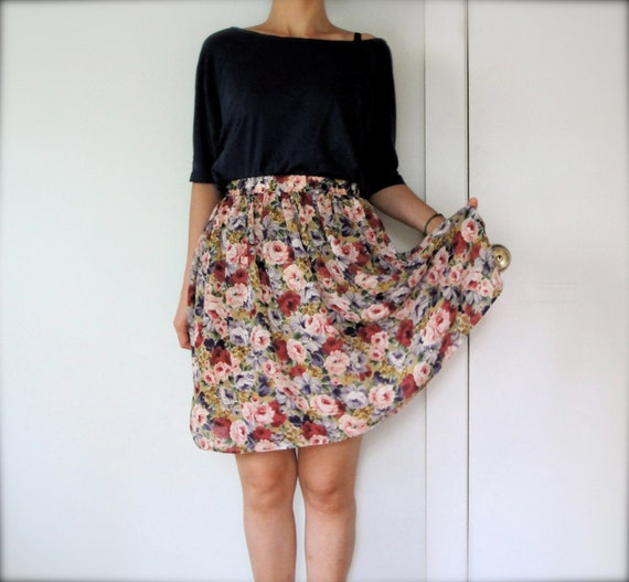 vintage women red pink purple olive green floral gathered pleated high waisted midi skirt (small)