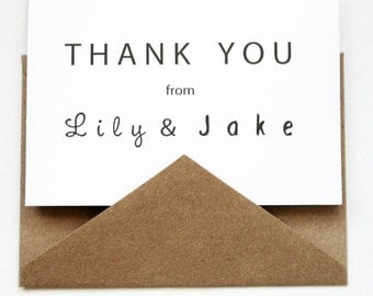 The Modern Wedding Thank You -- Personalized Stationery ---- Custom Wedding Thank You Notes -- CHOOSE YOUR QUANTITY