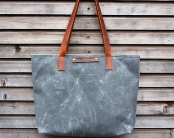 Waxed canvas bag/ carry all with  leather handles