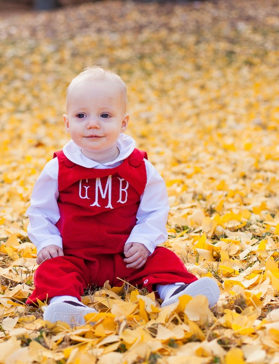 Boys Monogrammed Red Corduroy Longall