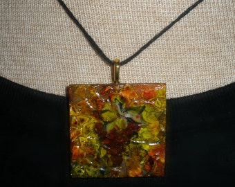 Hand painted wooden pendant - earthy ink mosaic design with grapes - square eggshell necklace - reversible designs faux leather cord OOAK
