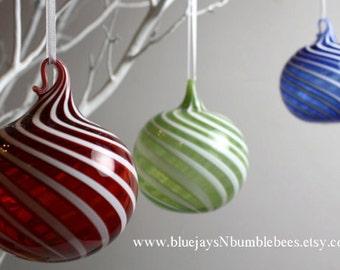 Red swirl blown glass ornament