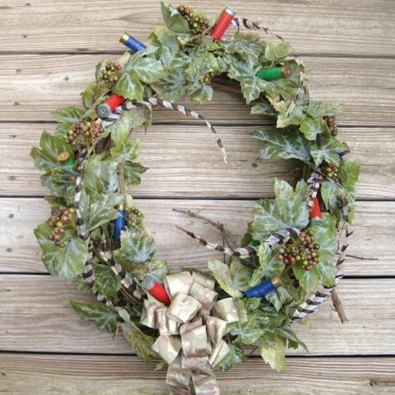 RESERVED FOR SM - Rustic Hunting Decor, Shot Gun Shell Wreath, Fathers Day, Outdoor Wreath, Camouflage, Deer Duck Hunter Cabin Lodge Decor