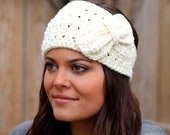 Sweet and Soft Woman's Crocheted Earwarmer with bow in white or off white