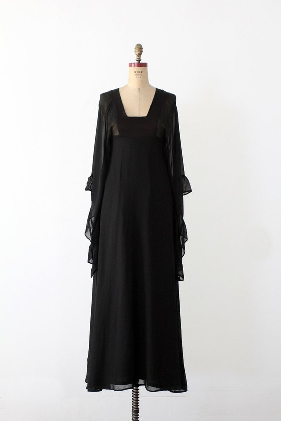 Witch Dress / 1970s Black Dress / Vintage Sheer Ruffle Gown / Halloween costume