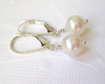 White pearl earrings, Freshwater pearl earrings, Sterling silver earrings, Bridesmaid gift, Classic pearl handmade jewelry, Wedding jewelry