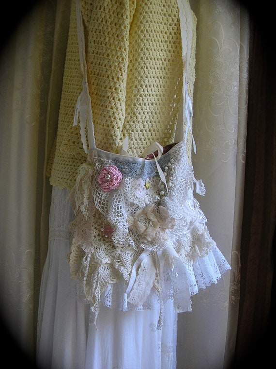 Layered Doily Bag, handmade fufu shabby, cotton vintage doilies ruffled laces pinks