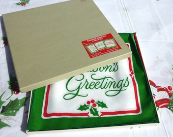 Vintage Christmas Cocktail Napkins - Printed Linens - Red and Green Holly - Leacock Xmas Holiday Mottos - MIB - Seasons Greetings