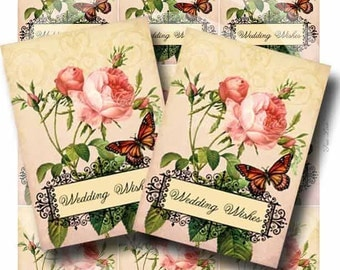 Wish Tags Digital Collage Sheet TRUE LOVE Vintage Pink Roses Butterfly Vintage Wedding Instant Download GalleryCat CS193
