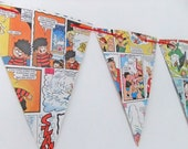 Beano Bunting - Party Decor, paper garland, Eco-Friendly Banner - recycled comic garland, Pennants