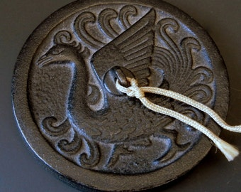"Heavy Molded Cast Iron Medallion from China  /  Scroll or Paper Weight / Black  / Desk Accessory //  Phoenix Bird Symbol / 3"" Wide / eb22"