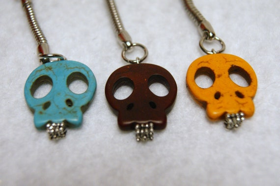 Large Howlite Skull Keychain--You Choose Color-- Reddish Brown, or Orange--Perfect for Halloween or Any Day